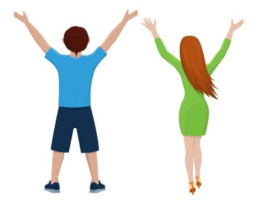 Boy and girl from the back.  Isolated vector illustration of cartoon characters with raised hands on white background.