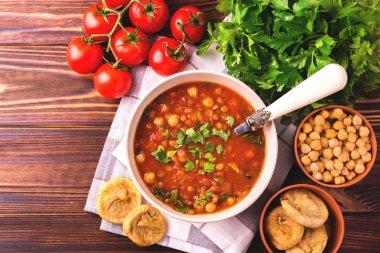 Soup Harira with figs. Ramadan food. Traditional Jewish cuisine