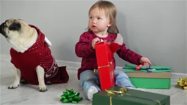 Vidám kislány egy ragyogó mosoly ült a földön egy ajándék, karácsonyi élvezi a családi kutya visel egy piros pulóver, boldog új évet