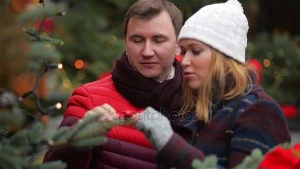 Happy Couple Choosing Christmas Tree at X-mas Fair. Young Family Talking and Kissing on the Christmas Fair. Merry Christmas and Happy New Year