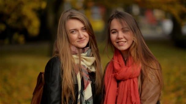 Dva s úsměvem mladá atraktivní dívky s podzimní listy v parku na podzim venku, kamarádky s úsměvem a při pohledu na fotoaparát