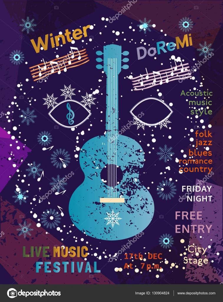 Plantilla diseño cartel: Festival de música acústica — Archivo ...
