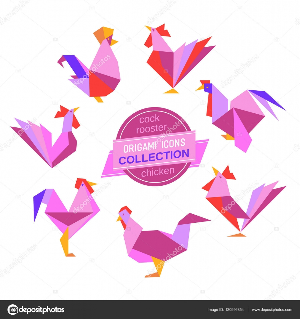 Origami roosters collection stock vector 64samcorpail abstract rooster sign freehand drawn stylized origami chicken emblem template geometric logo design design element rectangular shape hen symbol isolated jeuxipadfo Gallery
