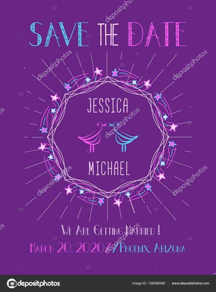 save the date card template stock vector