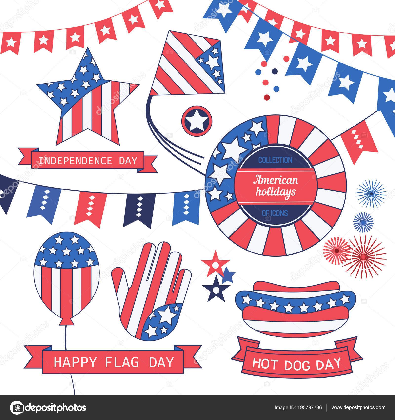 Happy American Holiday Icon Set Colors Usa Flag Craft Symbols