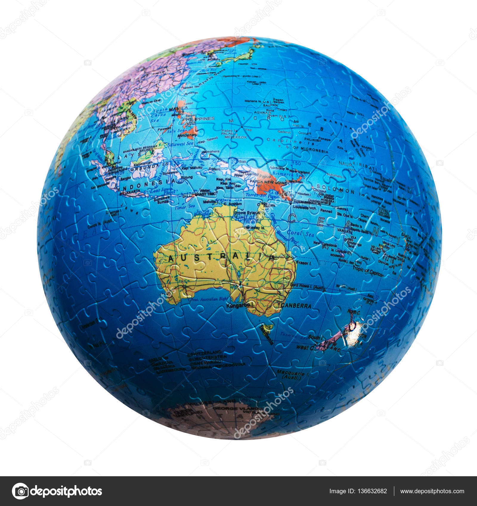 globe puzzle isolated map of australia and oceania stock photo