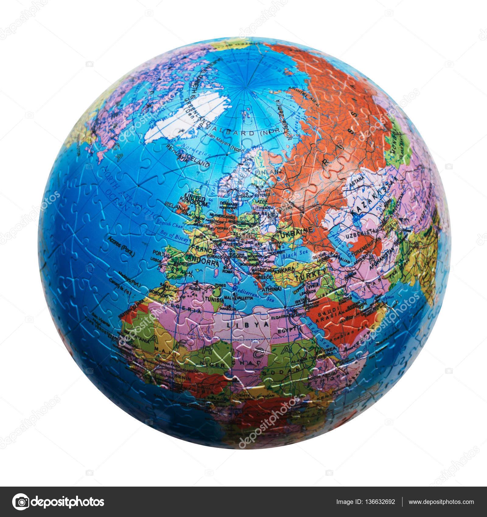 Karta Varlden Europa.Varlden Pusslet Isolerade Karta Over Europa Stockfotografi