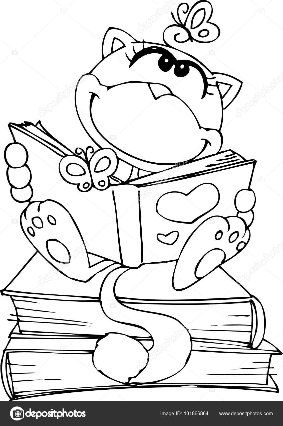 Dibujos Niños Para Colorear Leyendo Lindo Gato Leyendo Un