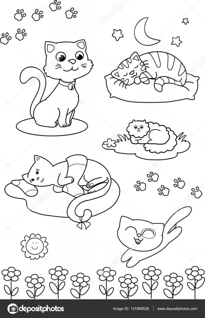 Gatos de dibujos animados lindo: Página de vector para colorear ...
