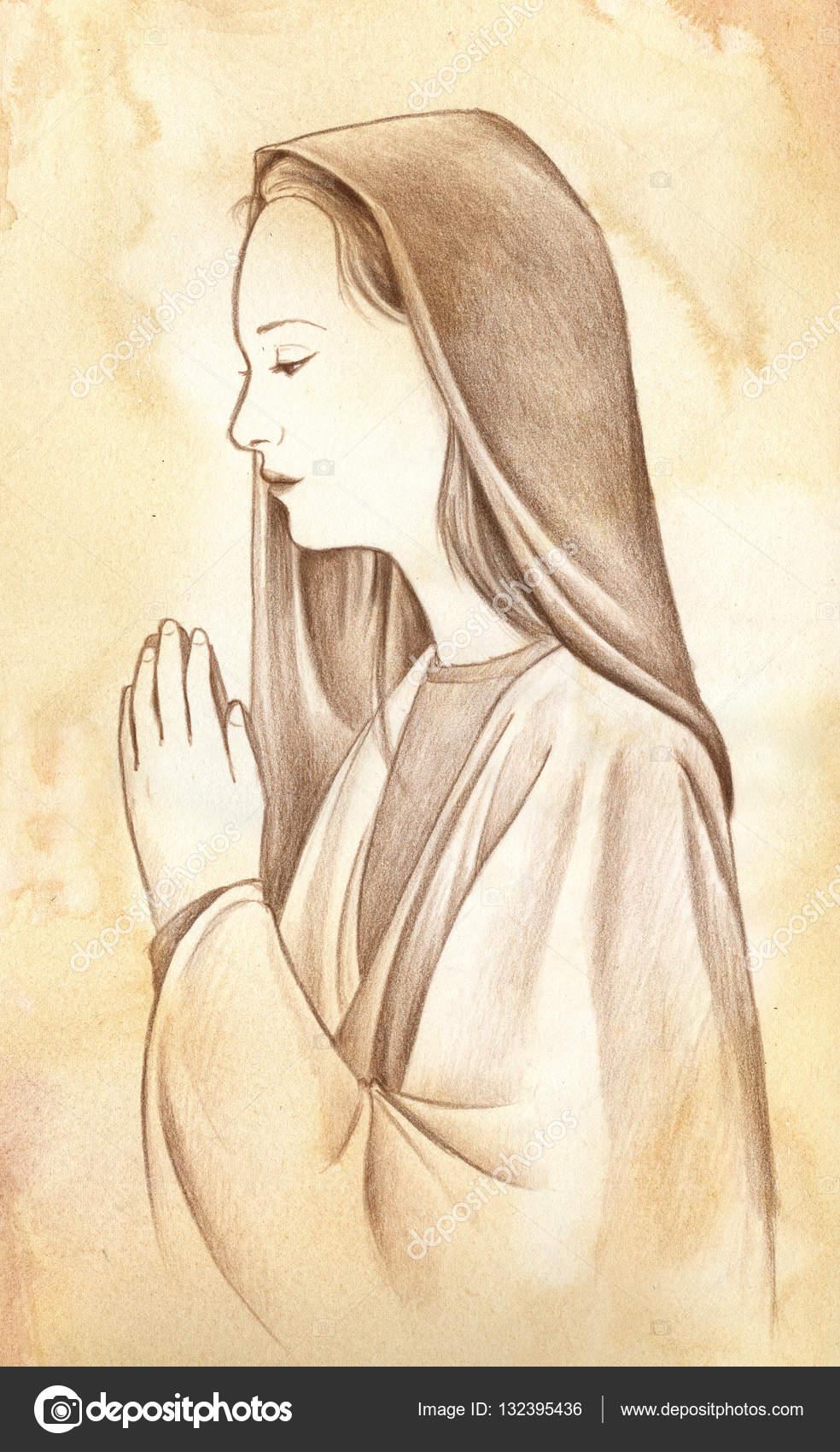 Girl Praying Sketch Oración Virgen María Dibujo A Lápiz Foto