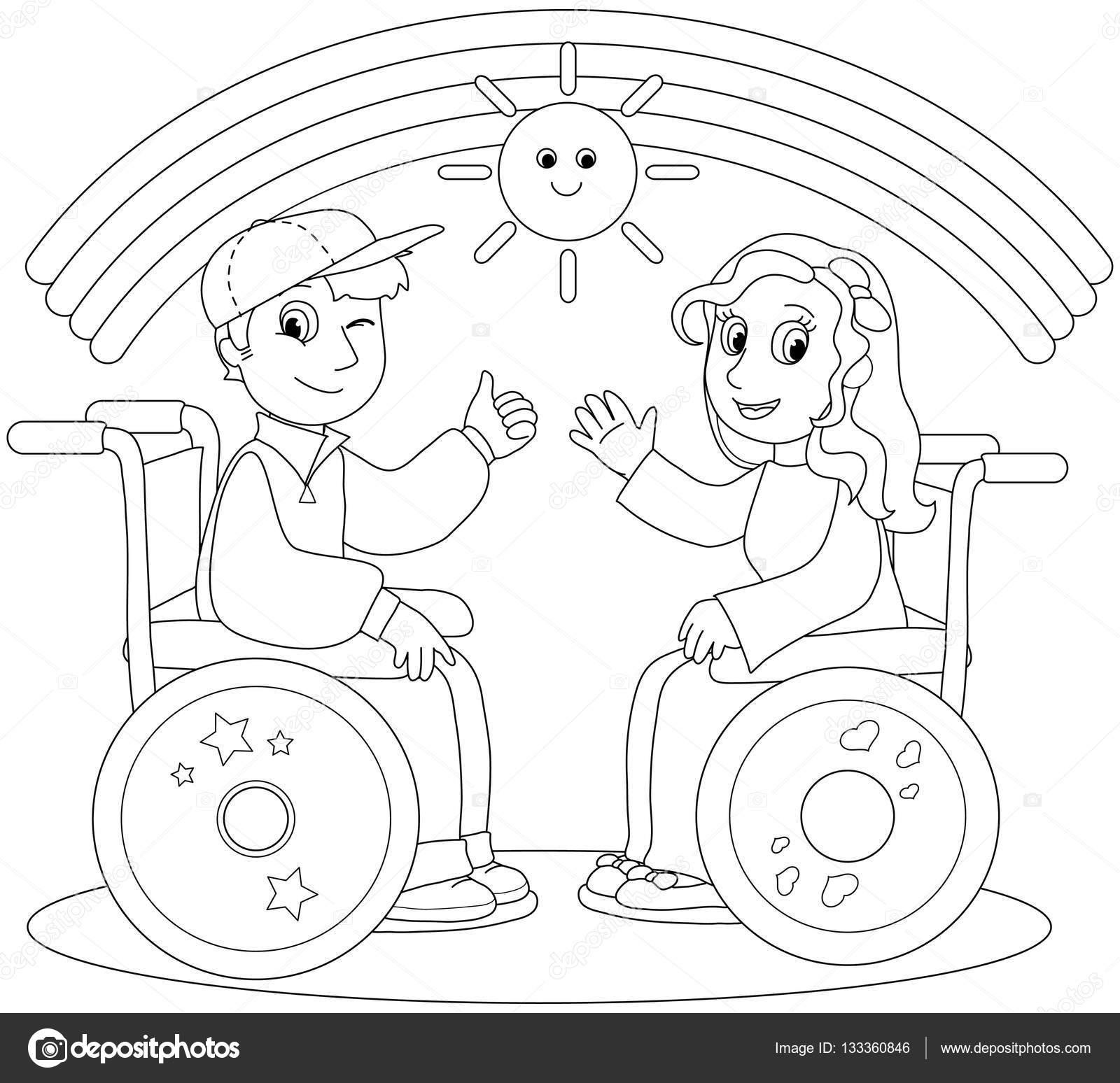 Imágenes: niños en silla de ruedas para colorear | Adolescentes