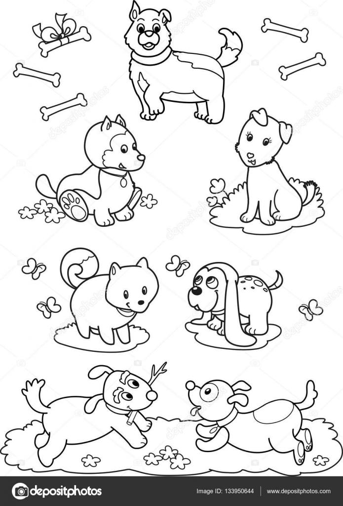 Perros de dibujos animados lindo: Página para colorear — Archivo ...