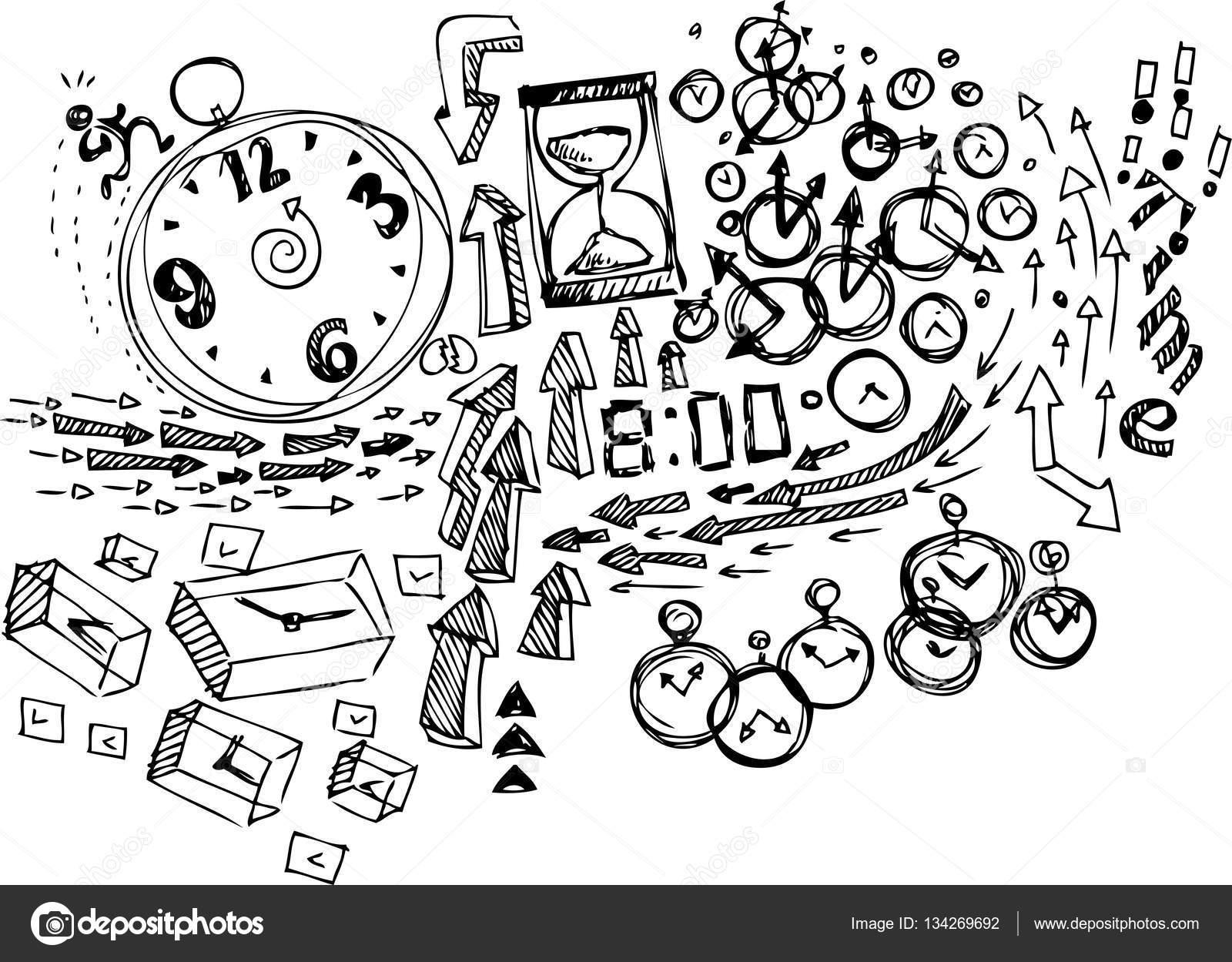Robot Resim Boyama Doodles Zaman Stok Vektör Carlacastagno