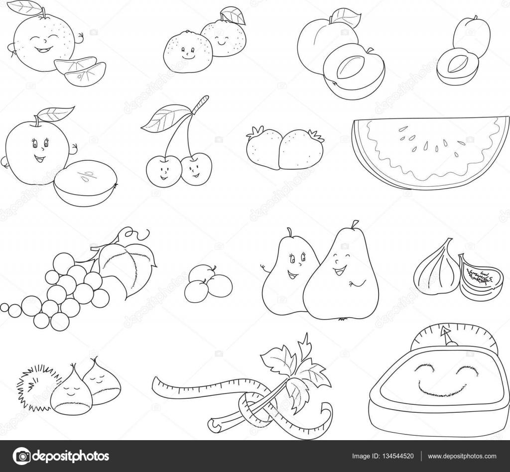 Kleurplaat Fruit Grafische Elementen Vector Stockvector