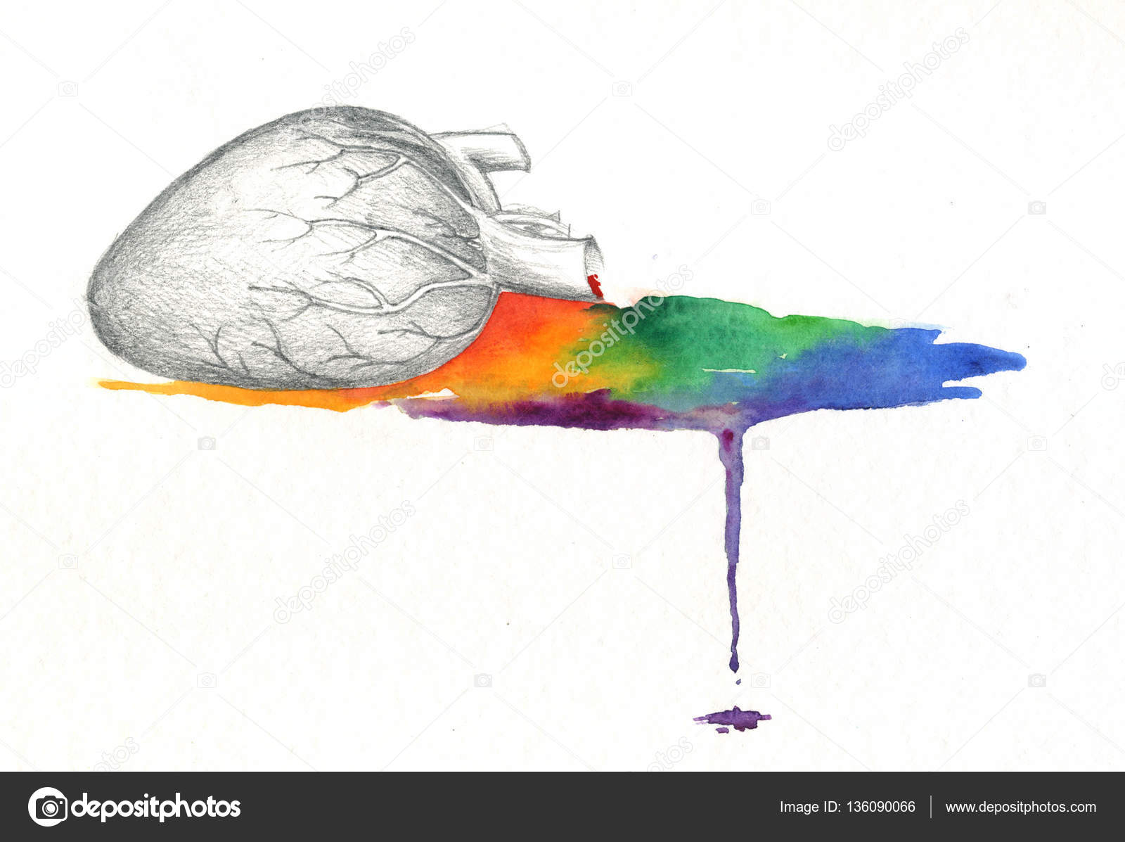 Zlomene Srdce Krvaceni Rainbow Akvarel Stock Fotografie