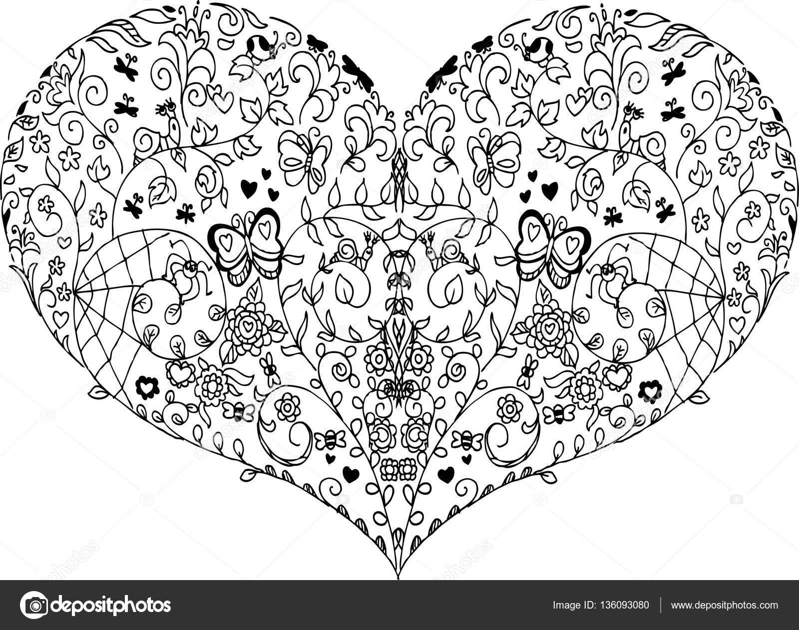 Dibujos Mandalas De Corazones Doodle De Mandala De Corazón Foto