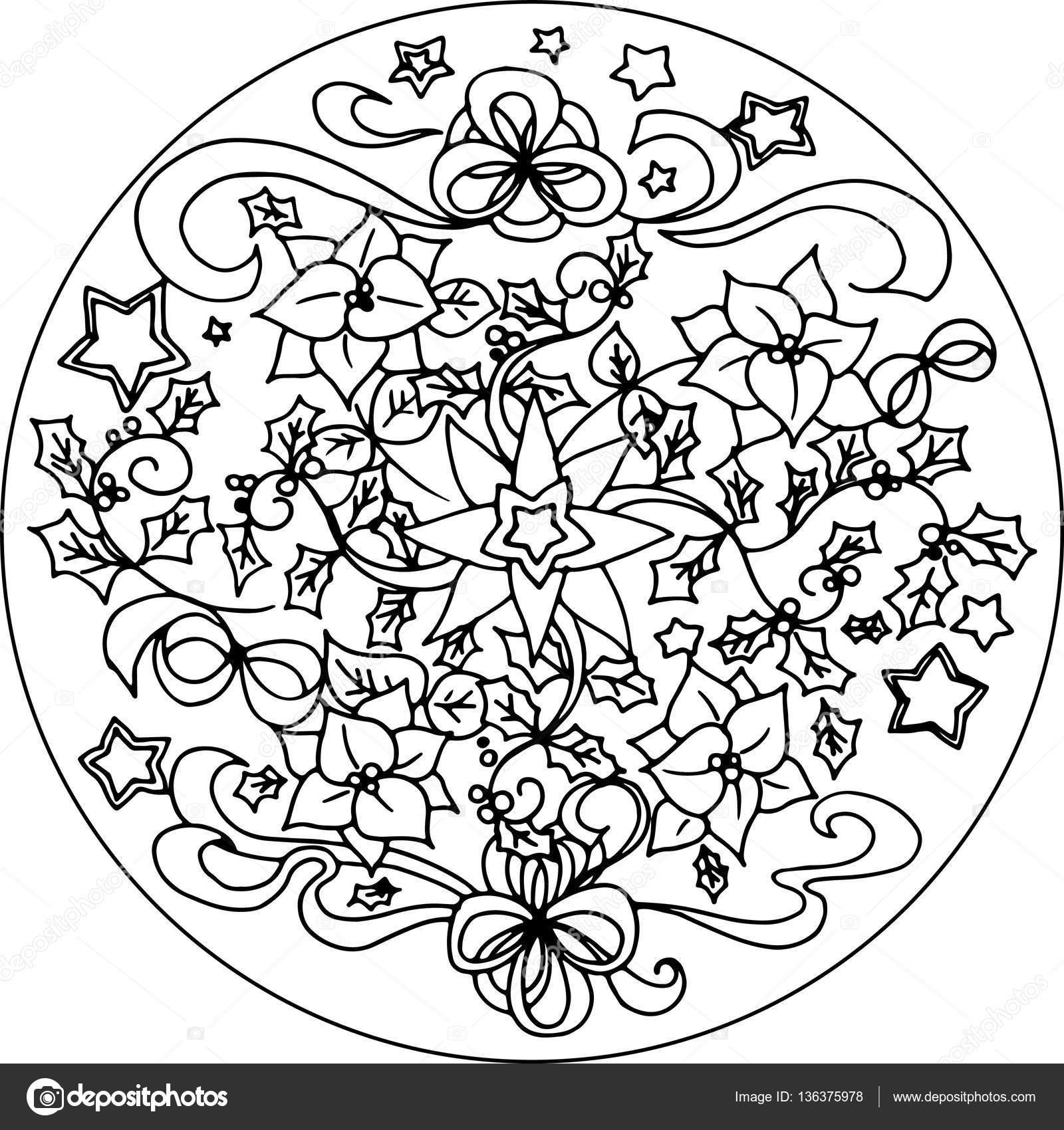 Weihnachten Malvorlagen Mandala Vektor — Stockvektor © carlacastagno ...