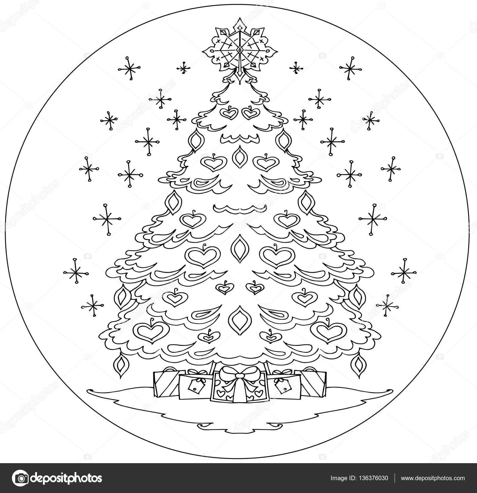 Mandala arbol de navidad | Mandala para colorear de árbol de