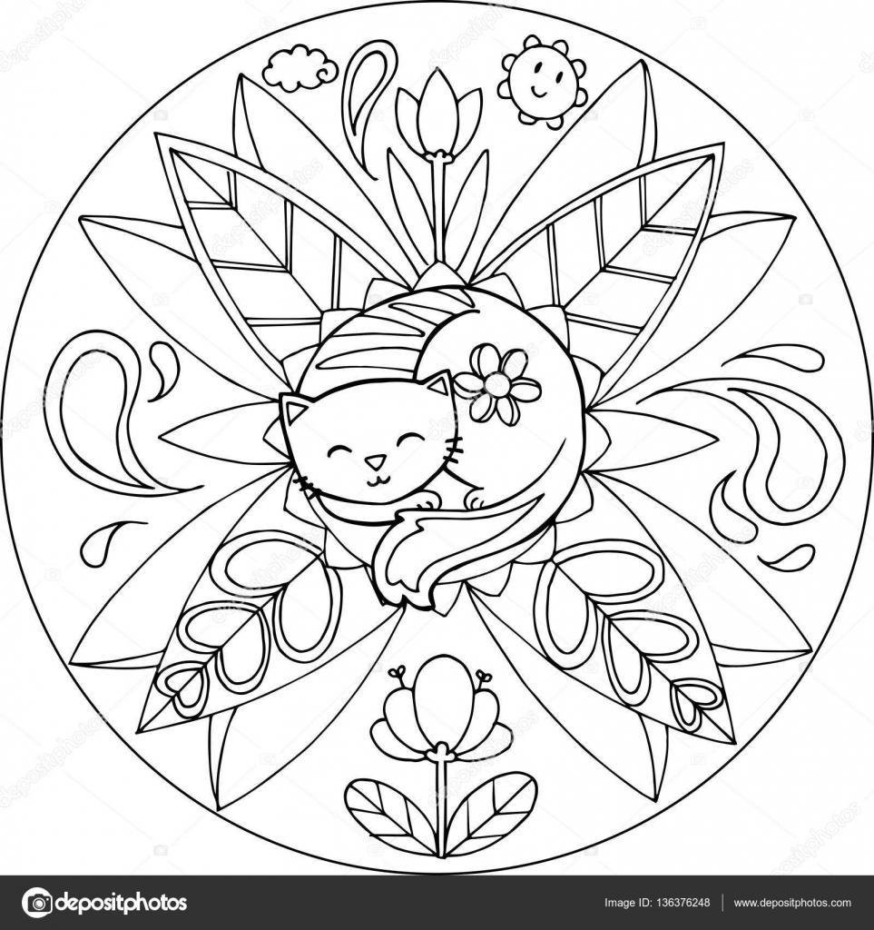 Vector Cat Mandala Coloring Coloring Cat Mandala Stock Vector