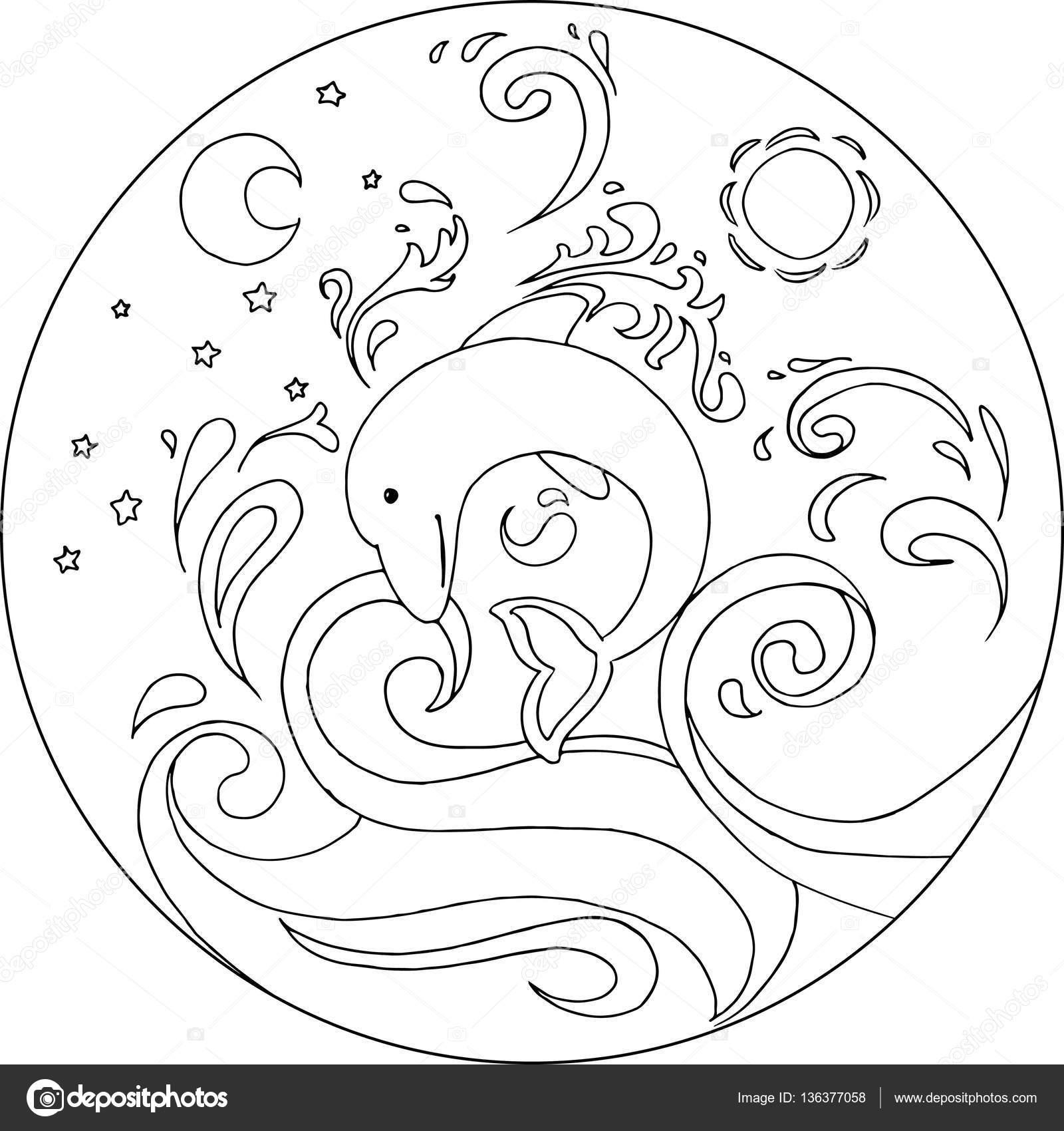 Vecteur de coloriage Mandala Dauphin — Image vectorielle