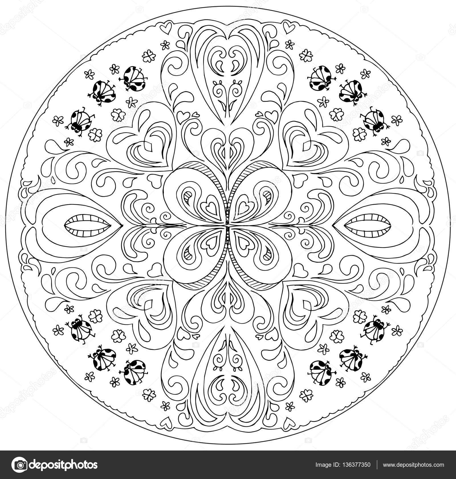 Coloriage Mandala Avec Vecteur De Coccinelles Image Vectorielle