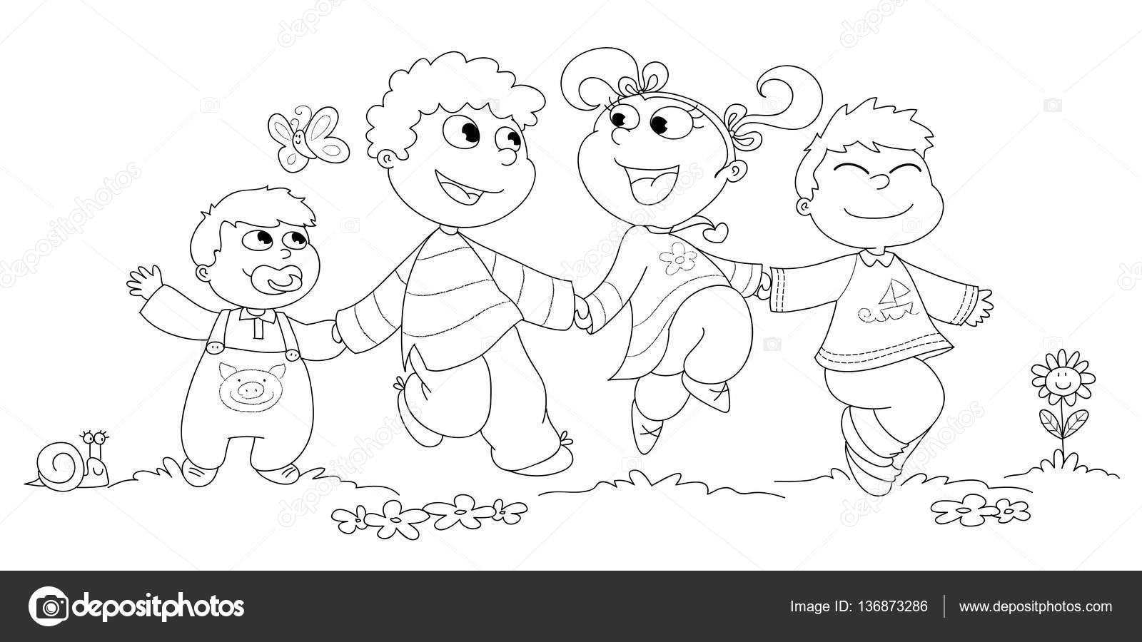 Imágenes Niños Corriendo Y Saltando Para Colorear Cuatro Niños Bw