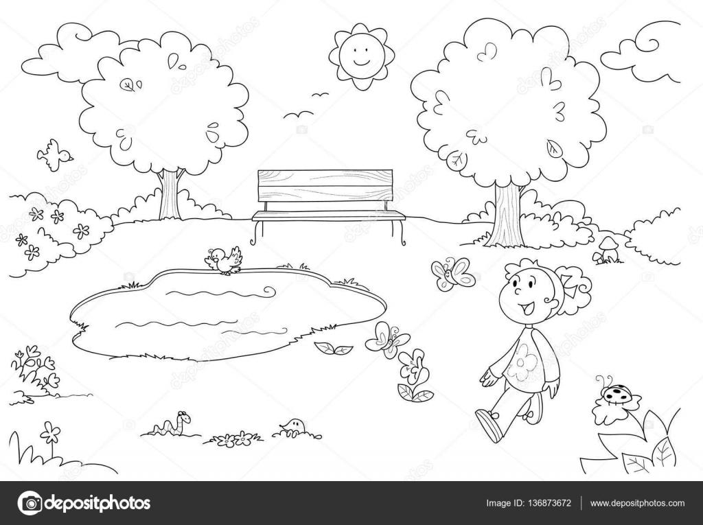 Malvorlagen Mädchen im park — Stockvektor © carlacastagno #136873672