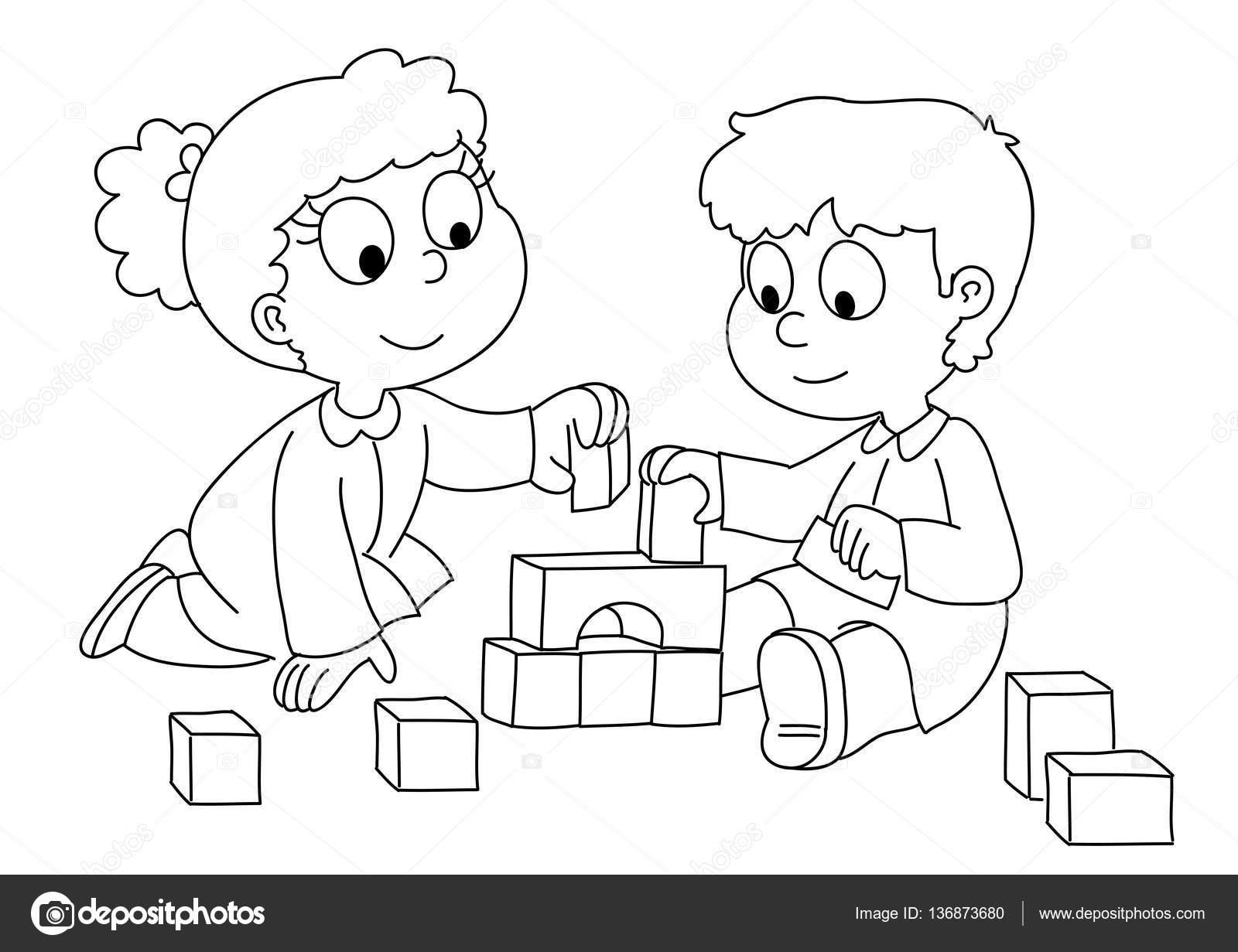Niño niño y niña jugando — Vector de stock © carlacastagno #136873680