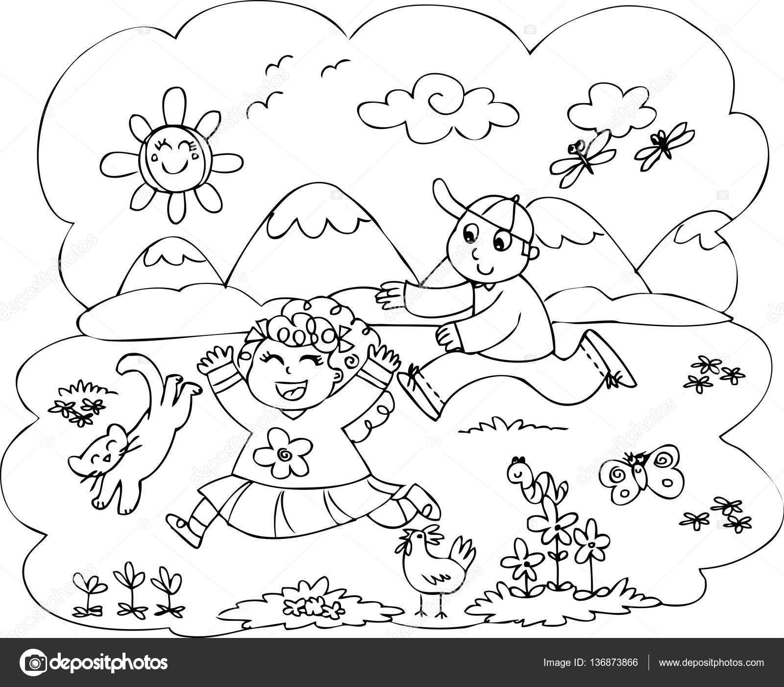 Dibujos Niños Corriendo En El Campo Niños Jugando En El Vector De