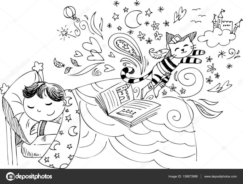 Niño en la cama soñando con vector de cuentos de hadas — Archivo ...