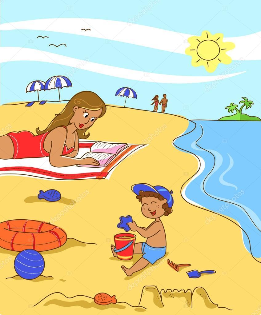 Рисунок купания на море