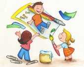 Three children painting with creativity