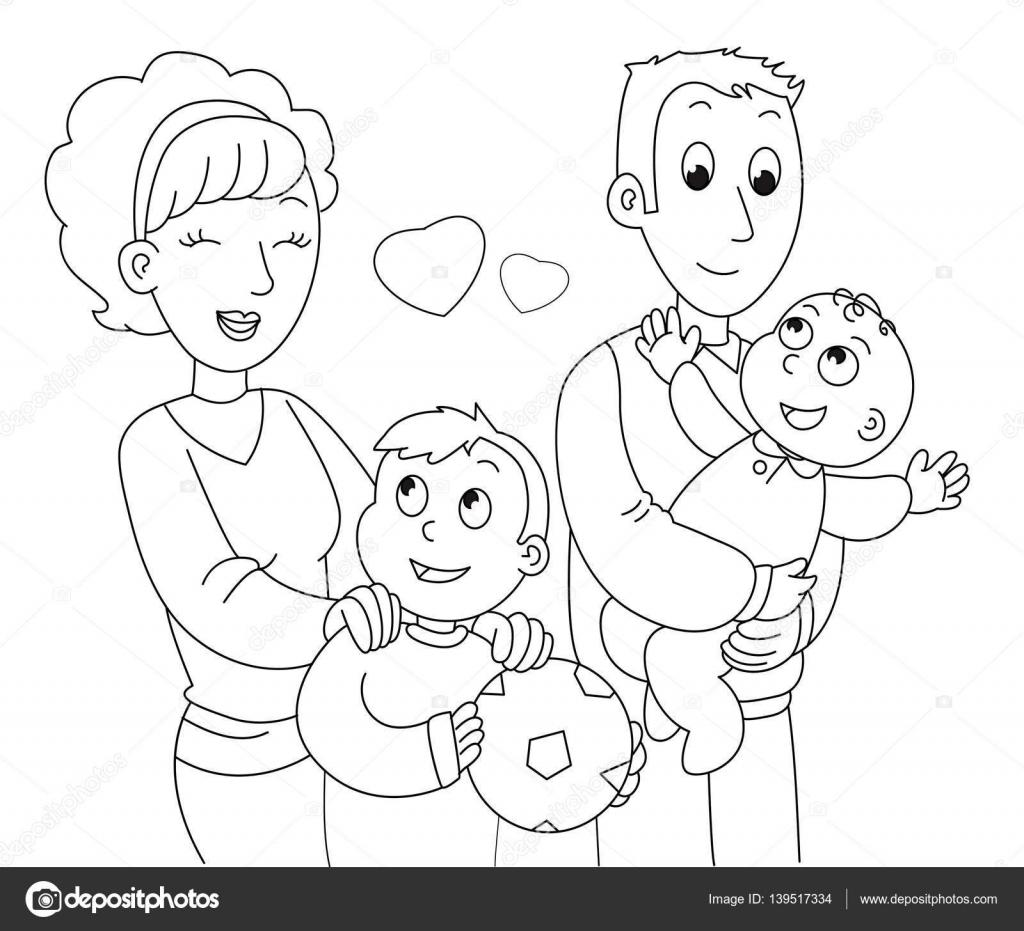 kleurplaat familie vector stockvector 169 carlacastagno