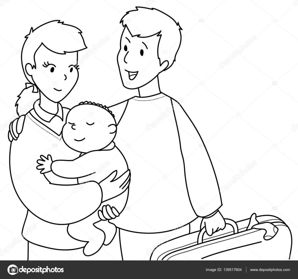 Linda familia para colorear — Archivo Imágenes Vectoriales ...