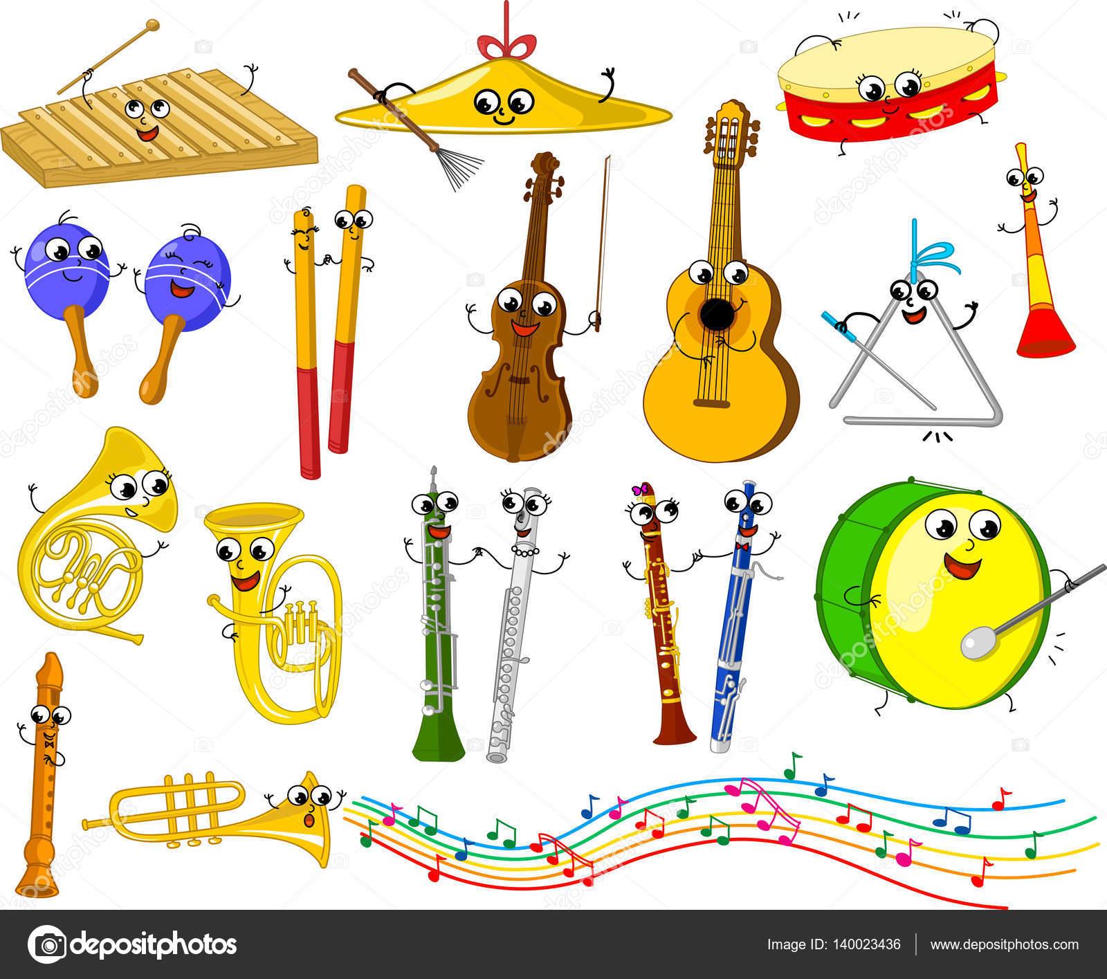 Conjunto De Instrumentos Musicais De Desenho Animado Para