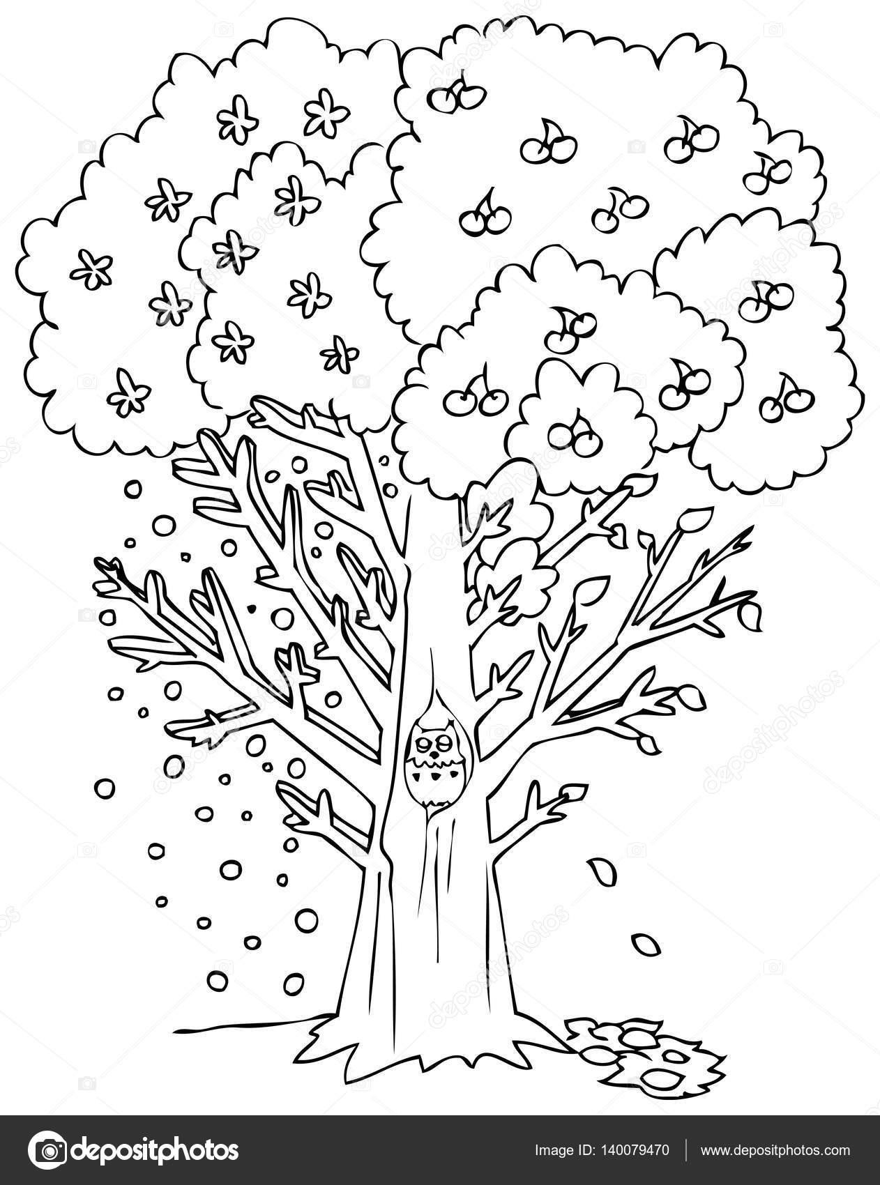 Vectores de árbol de temporada para colorear — Archivo Imágenes ...