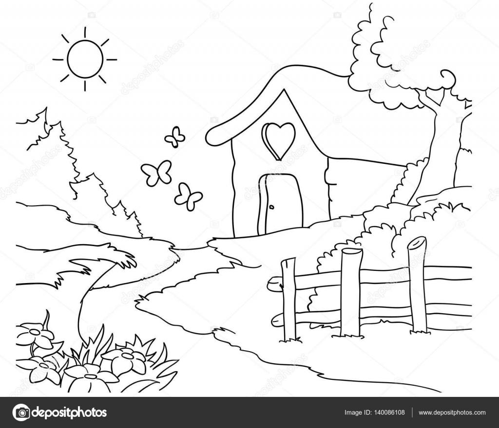 Casa de dibujos animados de madera para niños para colorear — Vector ...