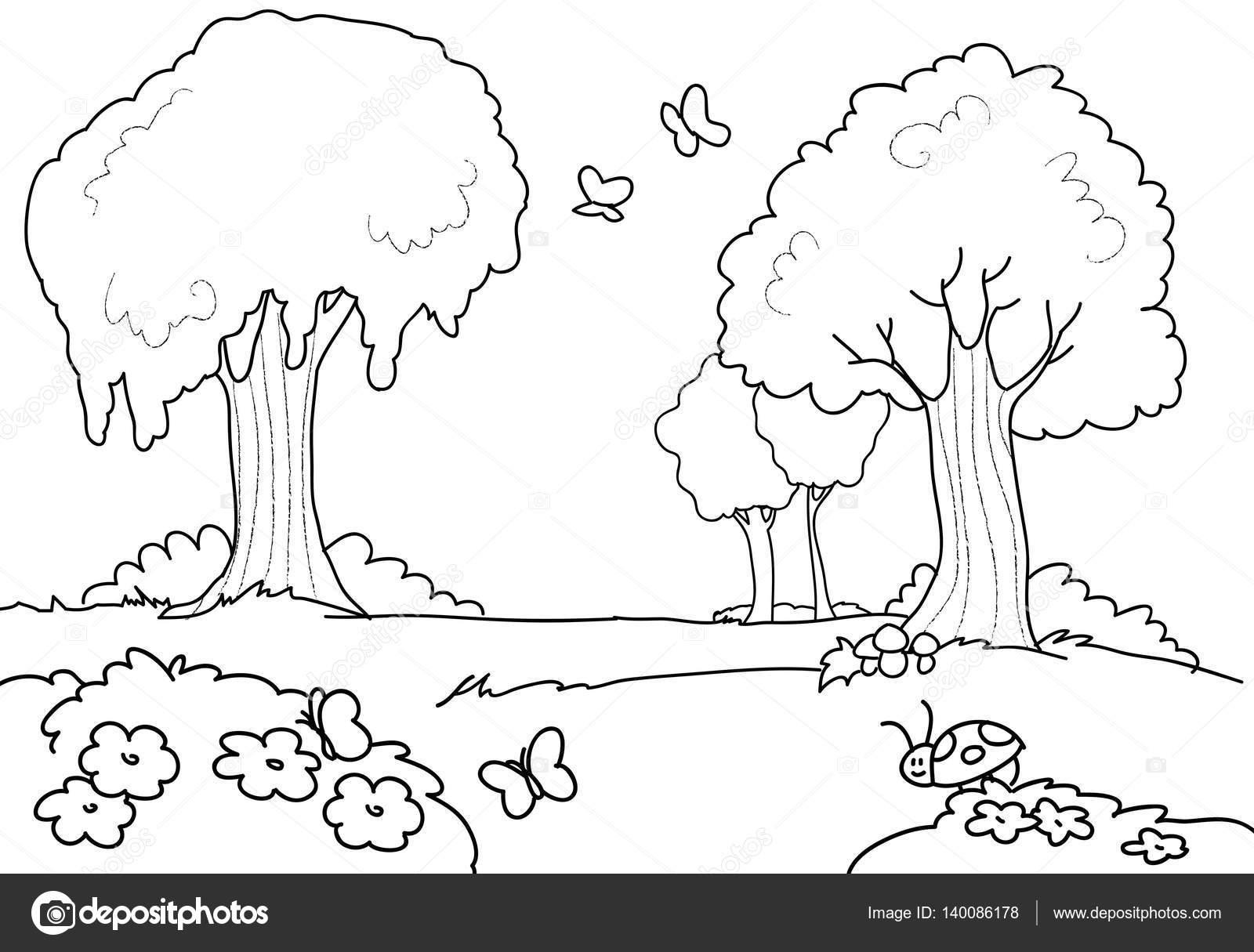 Dibujos animados de madera para niños para colorear — Vector de ...