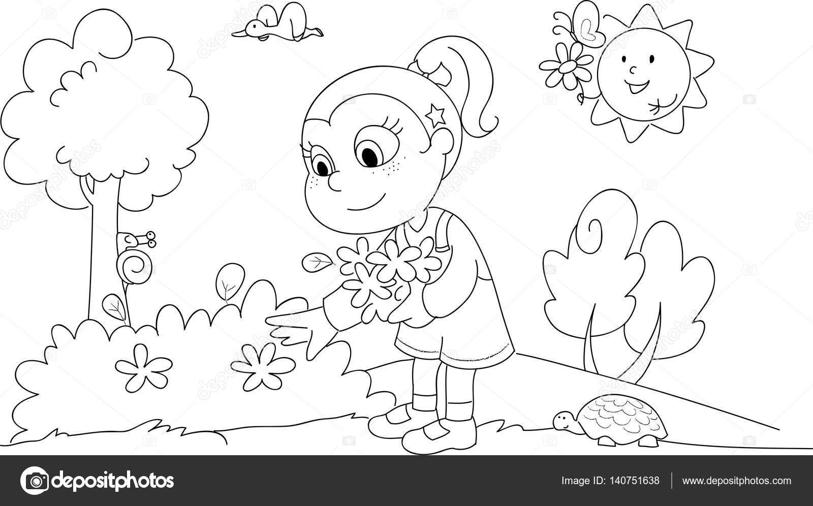 Kleurplaat Meisje In Het Voorjaar Stockvector C Carlacastagno