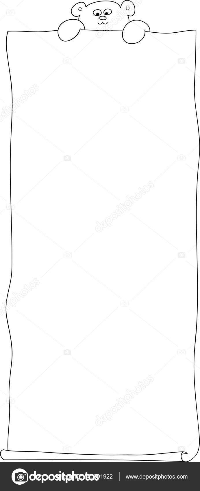 Oso con papel vector página del colorante — Archivo Imágenes ...