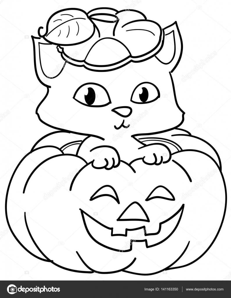 gato y halloween calabaza — Vector de stock © carlacastagno #141163350