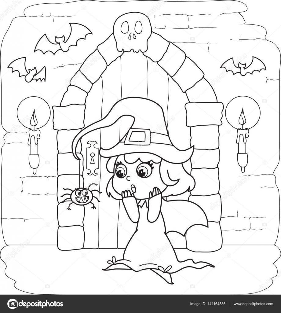 Poco de Brujas para colorear Halloween — Archivo Imágenes ...