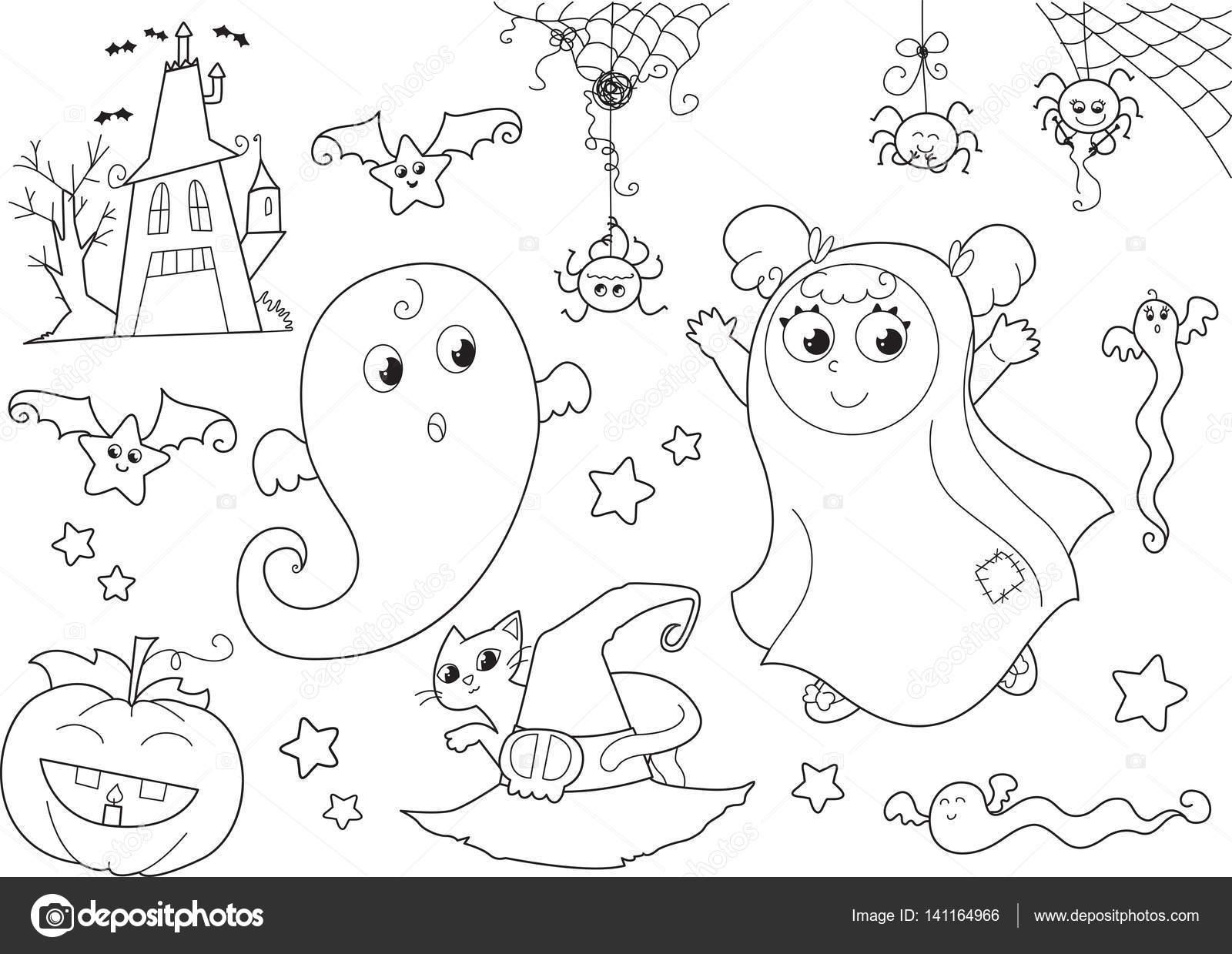 Para colorear Halloween set de vectores de niños pequeños — Vector ...