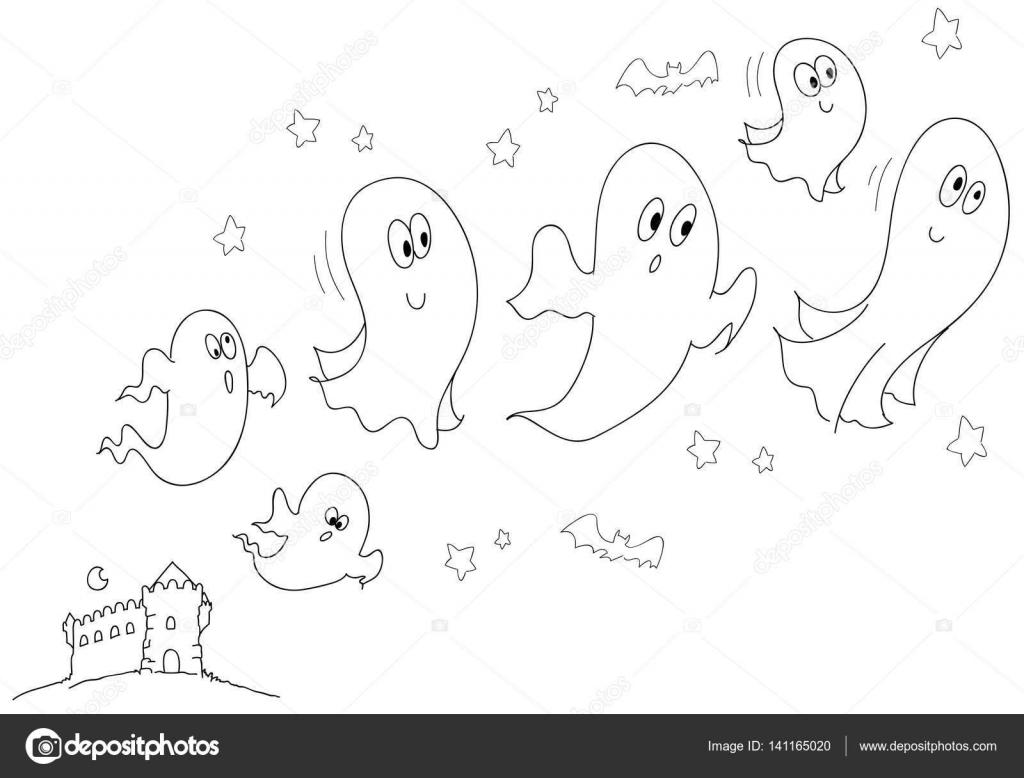 Halloween Kleurplaat Geesten Voor Kleine Kinderen Vector