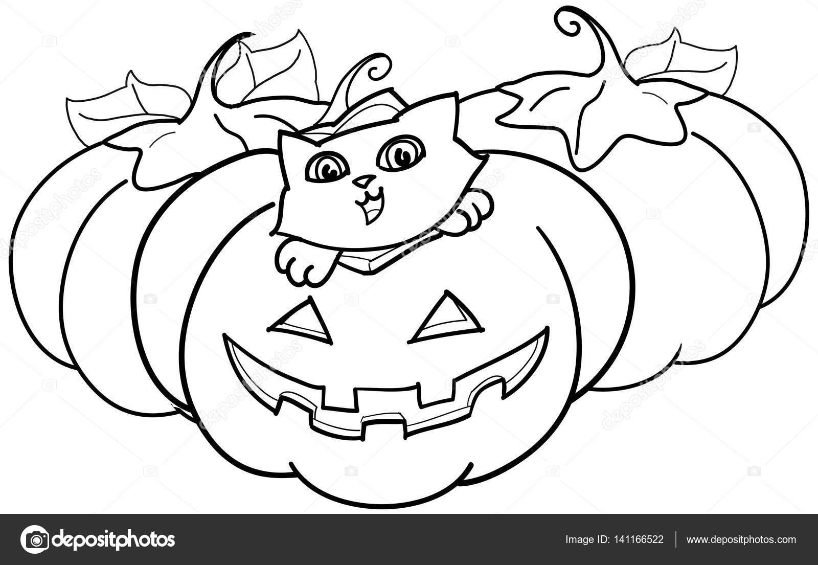 Gato negro de halloween para colorear | Gato negro y calabaza de ...
