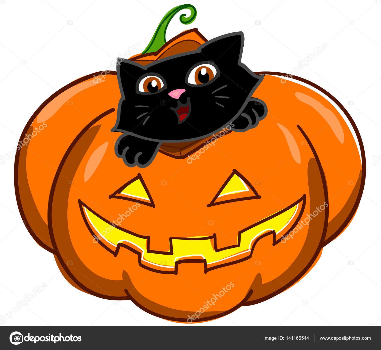 Schwarze Katze und Halloween Kürbis — Stockvektor © carlacastagno ...