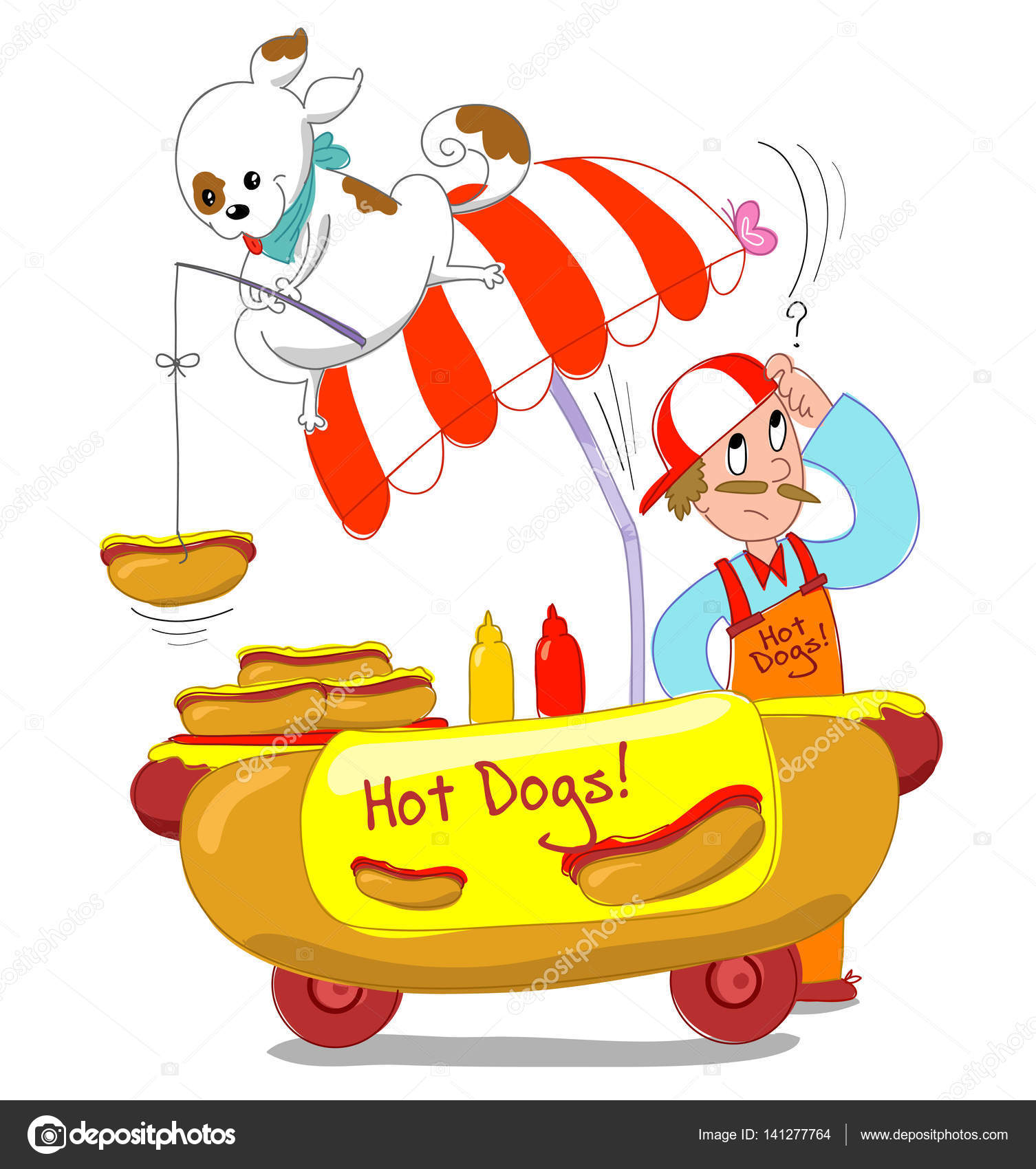 Hot Dogs Cartoon Illustration Stock Photo Carlacastagno 141277764
