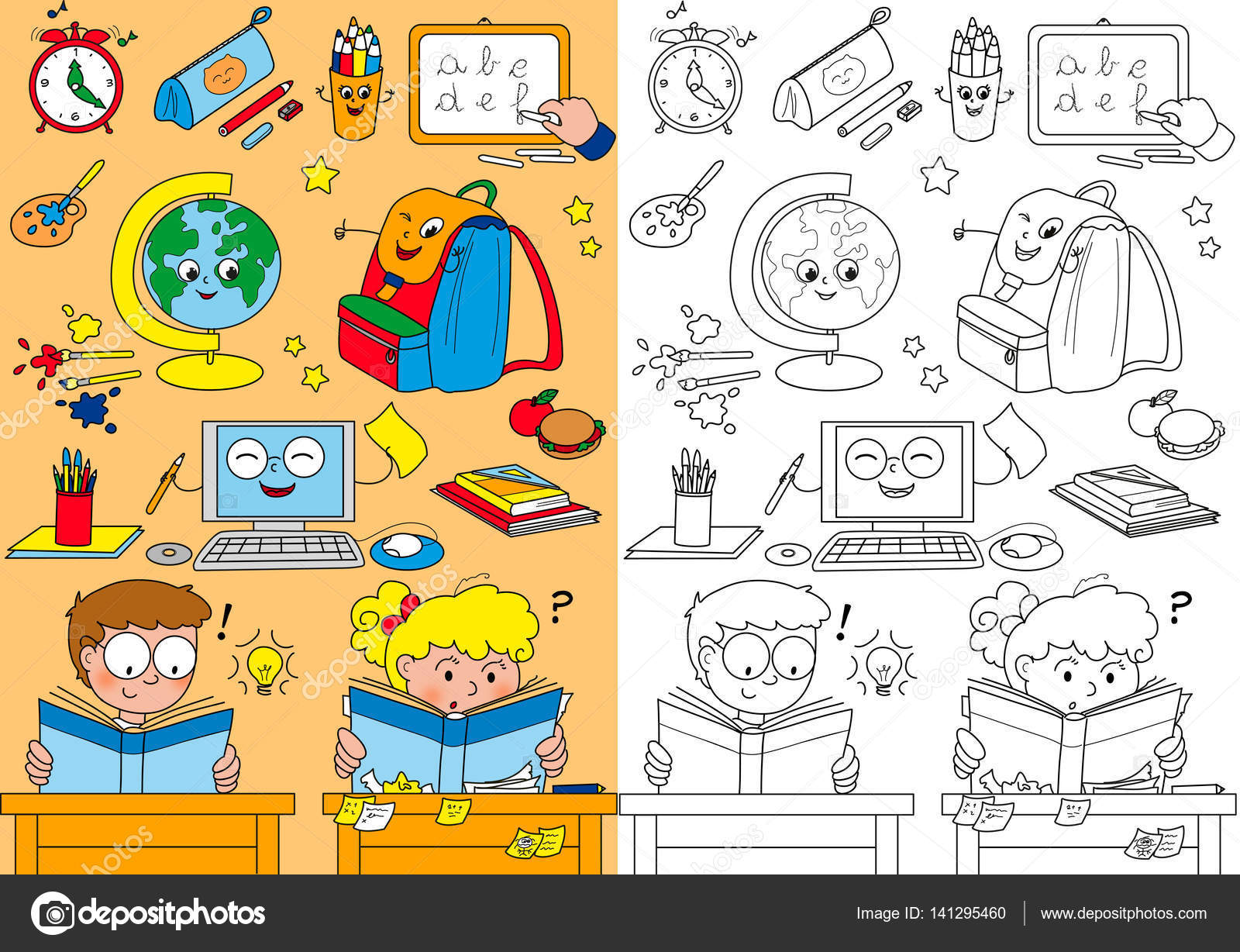 Elementi Di Scuola Da Colorare Per I Bambini Piccoli Foto Stock
