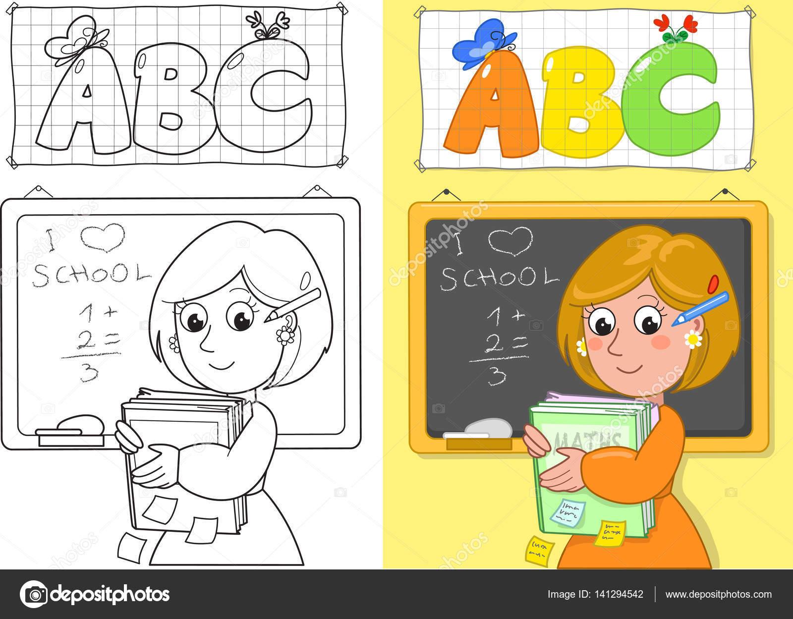 Imágenes Profesores Enseñando A Niños Para Colorear