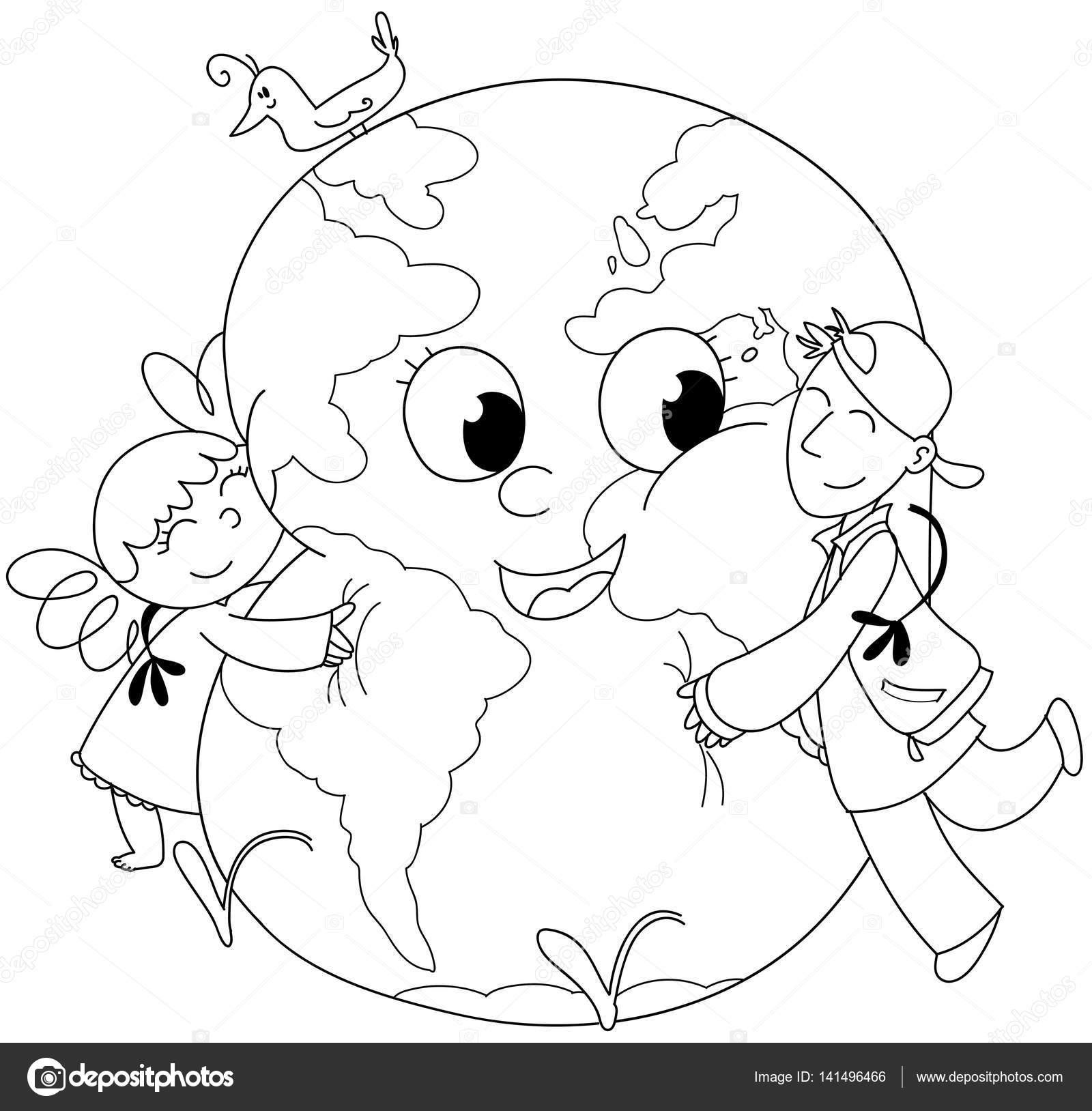 Bambini Da Colorare Che Abbraccia La Terra Foto Stock